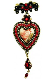 Michal Negrin Red Roses Cameo Crystal Heart Brooch