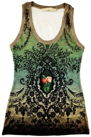 Michal Negrin Victorian Roses Green Tank Top