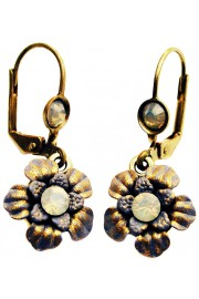 Michal Negrin Icy Grey Crystals Flower Earrings