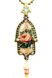 Michal Negrin Antique Rose Hamsa Necklace
