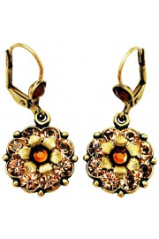 Michal Negrin Gold Bronze Crystal Flower Earrings