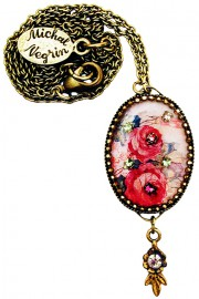 Michal Negrin Fuchsia Roses Oval Cameo Necklace