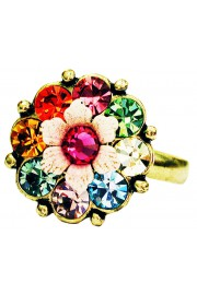 Michal Negrin Multicolor Pink Crystals Flower Ring