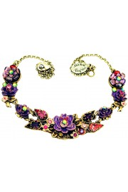 Michal Negrin Purple Pink New York Roses Necklace