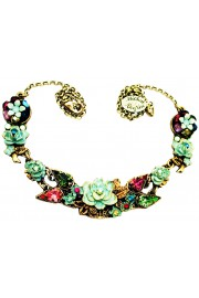 Michal Negrin Multicolor Green New York Roses Necklace