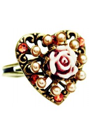 Michal Negrin Pearl Heart Carved Rose Ring