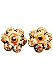 Michal Negrin Peach Crystal Rose Stud Earrings