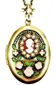 Michal Negrin Pearl Woman Cameo Oval Locket Necklace