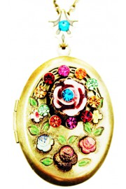 Michal Negrin Multicolor Victorian Carved Rose Locket Necklace