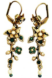 Michal Negrin Pearl Green Cherry Blossom Earrings