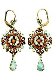 Michal Negrin Sea Green Bronze Oriental Earrings
