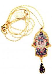 Michal Negrin Gold Plated Cherubs Hamsa Necklace