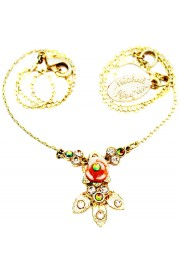 Michal Negrin Gold Rose with Leaves Necklace