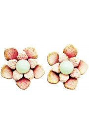 Michal Negrin Light Pink Green Beads Flower Stud Earrings