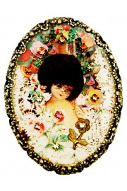 Michal Negrin Vintage Doll Oval Cameo Brooch