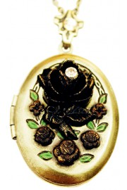 Michal Negrin Antique Rose Oval Locket Necklace