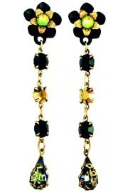 Michal Negrin Black Vitrail Bronze Post Earrings