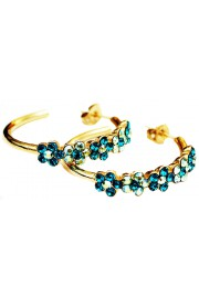 Michal Negrin Gold Plated Green Turquoise Hoop Earrings