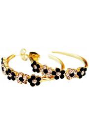 Michal Negrin Gold Plated Black Hoop Earrings