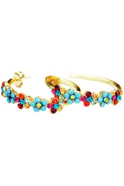 Michal Negrin Gold Plated Multicolor Hoop Earrings