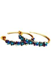 Michal Negrin Blue Purple Green Crystal Hoop Earrings