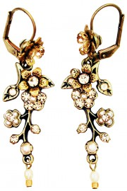 Michal Negrin Pearl Peach Cherry Blossom Earrings