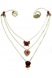 Michal Negrin Red Multi Chain Charms Necklace