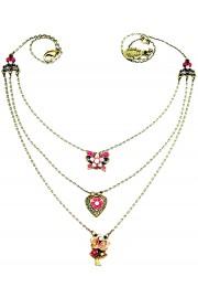 Michal Negrin Multi Chain Fuchsia Lilac Necklace