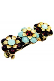 Michal Negrin Mint Green Red Crystals Hair Clip