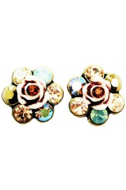 Michal Negrin Bronze Sea Green Crystal Rose Stud Earrings