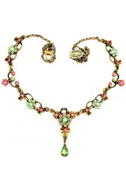 Michal Negrin Pink Green Ornate Necklace
