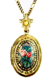 Michal Negrin Roses Cameo Mini Locket Necklace