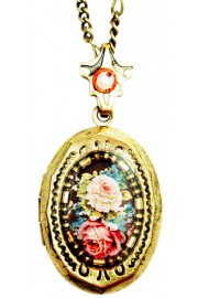 Michal Negrin Victorian Roses Mini Locket Necklace