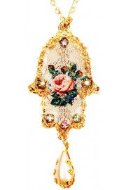 Michal Negrin Gold Plated Victorian Rose Hamsa Necklace