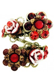 Michal Negrin Red Carved Roses Spiral Ring