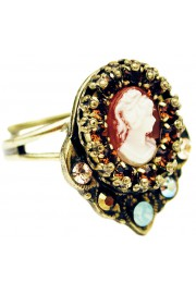 Michal Negrin Bronze Victorian Woman Cameo Ring