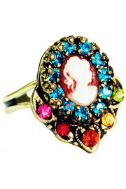 Michal Negrin Multicolor Victorian Woman Cameo Ring