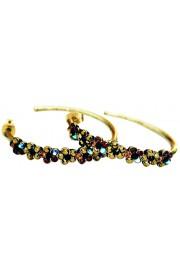 Michal Negrin Black Bronze Garnet Hoop Earrings