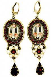 Michal Negrin Pearl Garnet Roses Drop Earrings
