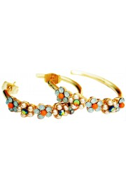 Michal Negrin Gold Plated Green Coral Hoop Earrings