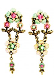 Michal Negrin Pink Green Floral Post Earrings