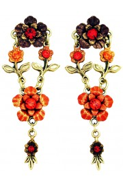 Michal Negrin Red Tangerine Floral Post Earrings