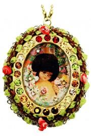 Michal Negrin Large Vintage Doll Locket Necklace
