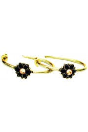 Michal Negrin Black Gold Single Flower Hoop Earrings