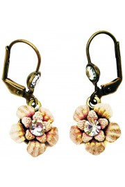 Michal Negrin Pink Lilac Flower Earrings