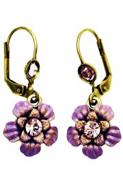 Michal Negrin Purple Lilac Crystals Flower Earrings