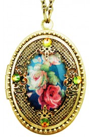 Michal Negrin Blue Roses Filigree Locket Necklace