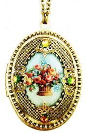 Michal Negrin Victorian Roses Filigree Locket Necklace