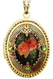 Michal Negrin Gothic Roses Filigree Locket Necklace