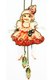 Michal Negrin Vintage Style Movable Doll Necklace
